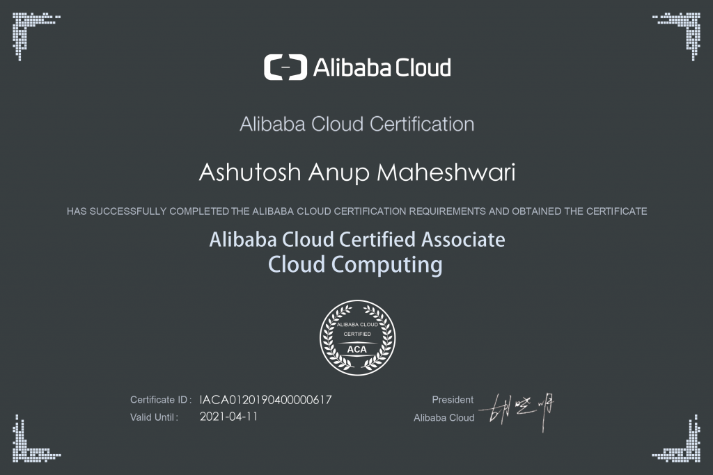 Alibaba Cloud Associate Ashutosh Maheshwari